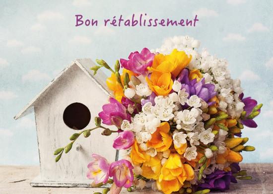 Carte avec message Bouquet, nichoir (Bon rétablissement)