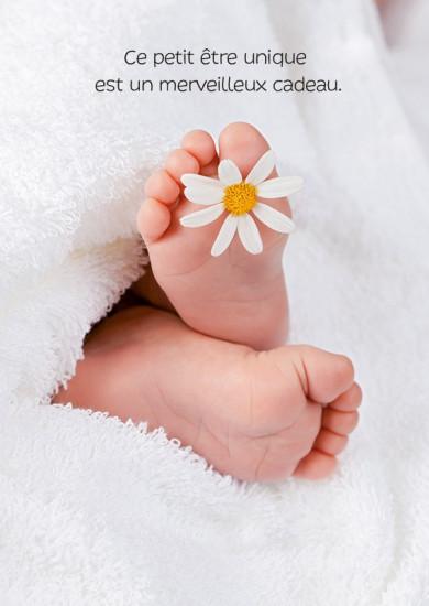 Carte avec message Pieds de bébé