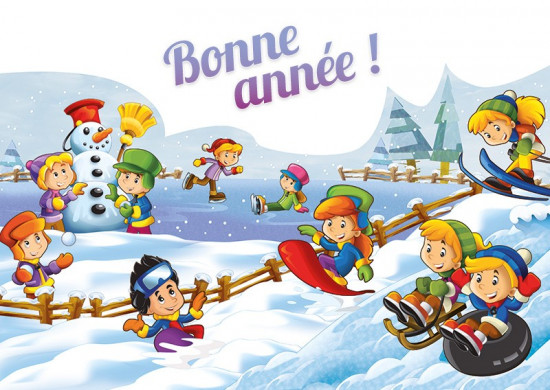 Carte Flash Fin D'année avec Enfants jouant ds la neige (BA)