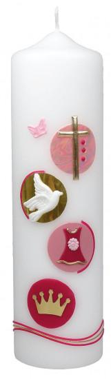 Bougie de naissance rose : croix, colombe, robe et coeuronne