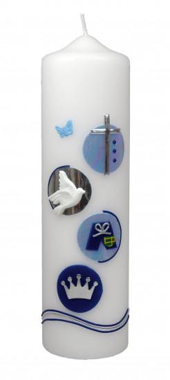 Bougie de naissance bleu : croix, colombe, pantalon ..