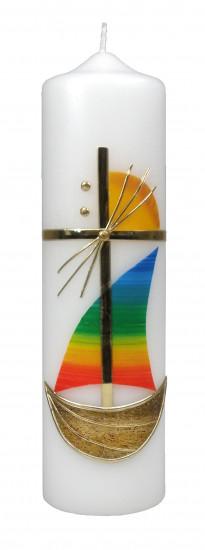 Bougie croix et voilier Hauteur 22cm, diamètre 6 cm