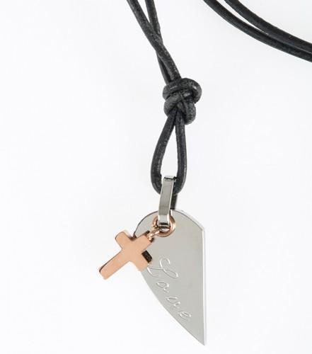 Pendentif Croix, demi-coeur en acier inoxydable, collier cuir 47cm