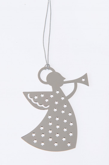 Décoration pour sapin de Noël: Ange métal poli 6x7, 5cm