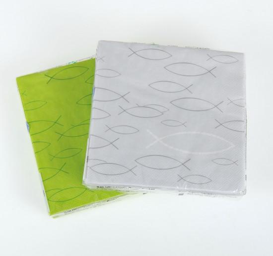 Serviettes papier verte avec Ichtus 33 x 33cm paquet de 20