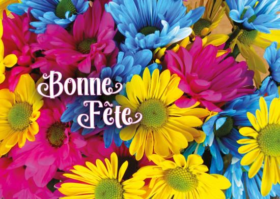 Minicarte Fleurs roses, bleues et jaunes