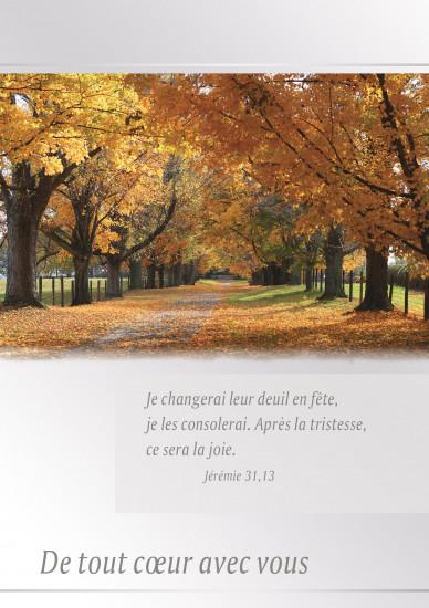 Carte double Condoléances Allée bordée d'arbres en automne