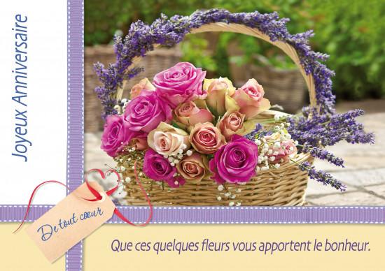 Carte double Anniversaire Bouquet de roses et lavande dans un panier