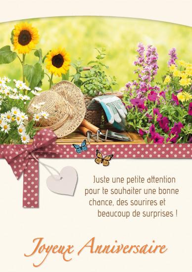Carte double Anniversaire Outils de jardinage et fleurs