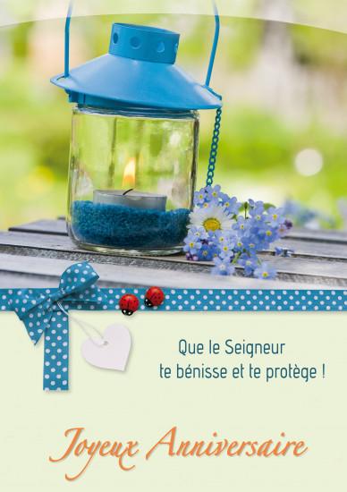 Carte double Anniversaire Lanterne et fleurs bleues