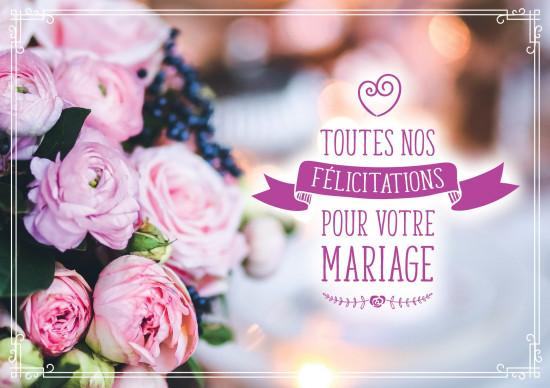 Carte double Mariage Bouquet de mariée