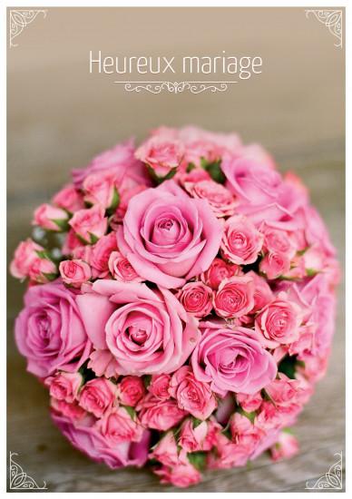 Carte double Mariage Bouquet de roses roses