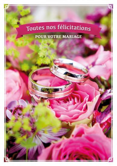 Carte double Mariage Alliances sur un bouquet de fleurs
