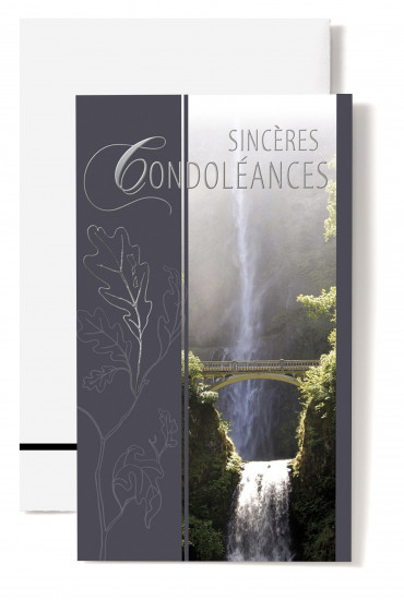 Carte double Condol?ances Pont surplombant une cascade
