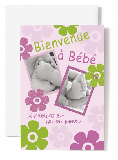 Carte double Naissance Pieds et mains bébé ds cadre, fond rose