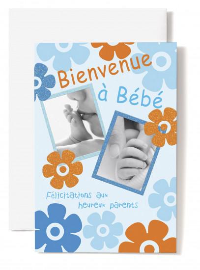 Carte double Naissance Pieds et mains bébé ds cadre, fond bleu