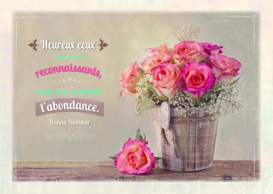 Carte citation Bouquet de roses dans un pot