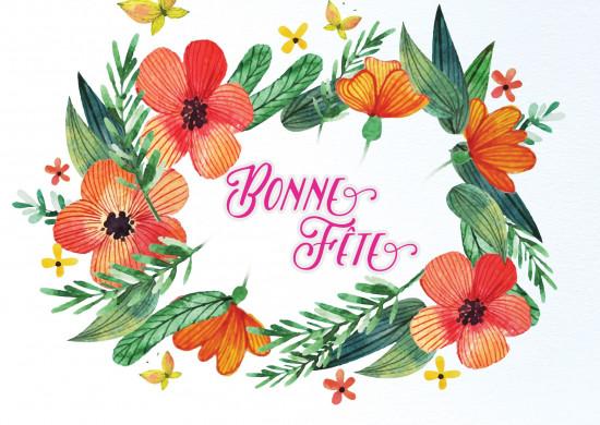 Carte avec message Couronne de fleurs orange (BF)