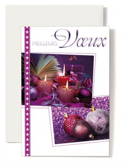 Carte double Meilleurs Voeux Bougies, boules, cadeaux devant livre