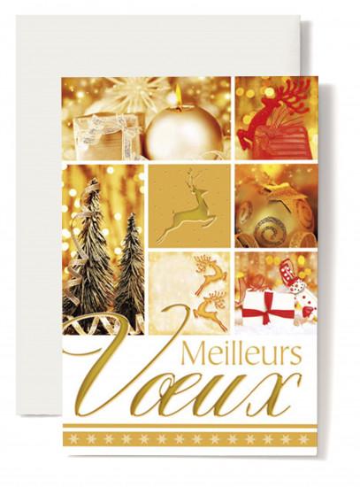 Carte double Meilleurs Voeux Images thème Noël, tons doré