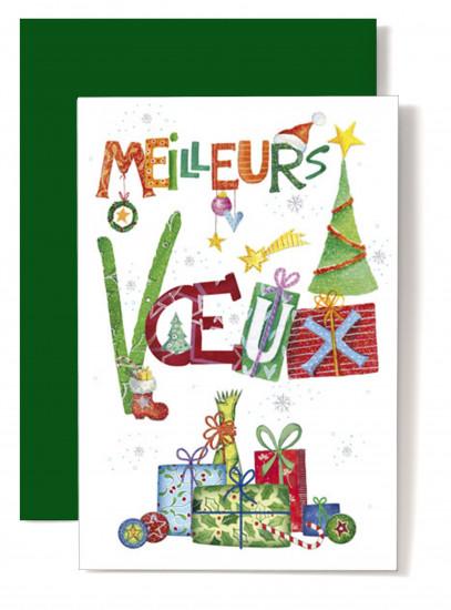 Carte double Meilleurs Voeux Cadeaux, sapins, tons vert
