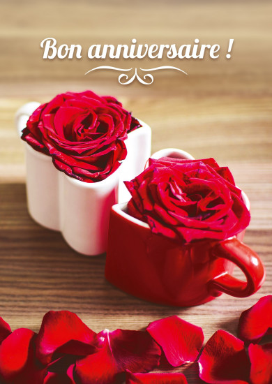 Carte avec message Tasses en forme de coeur avec des roses