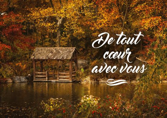 Carte avec message Terrasse au bord d'un lac