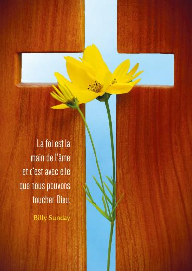Carte citation Croix en boisdécoupée et fleurs jaunes