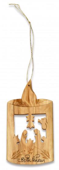 Décoration crèche en bois d'olivier ds une bougie