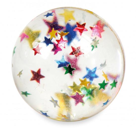 Balle rebondissante avec étoiles multicolores.