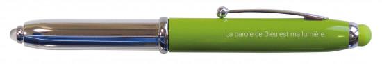 Stylo Emmaüs vert avec LED et embout tactile, étui en carton