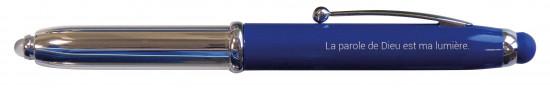 Stylo Emmaüs bleu avec LED et embout tactile, étui en carton