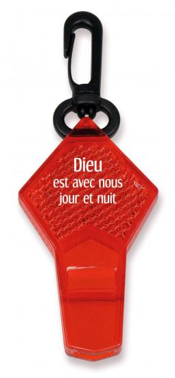 Réflecteur sifflet  rouge avec attache
