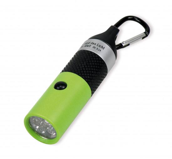 Lampe de poche LED porte-clé verte Mat. 5:14