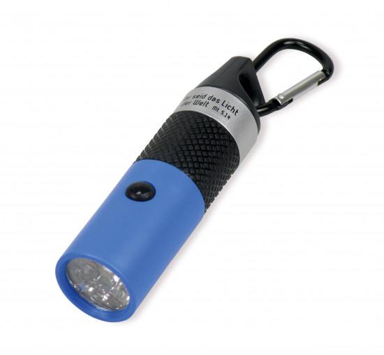 Lampe de poche LED porte-clé bleue Mat. 5:14