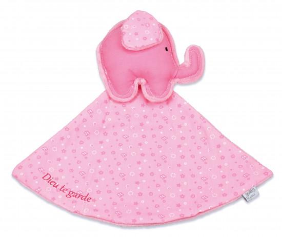 Doudou éléphant rose «Dieu te garde»