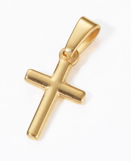 Pendentif croix en acier inox. plaqué or