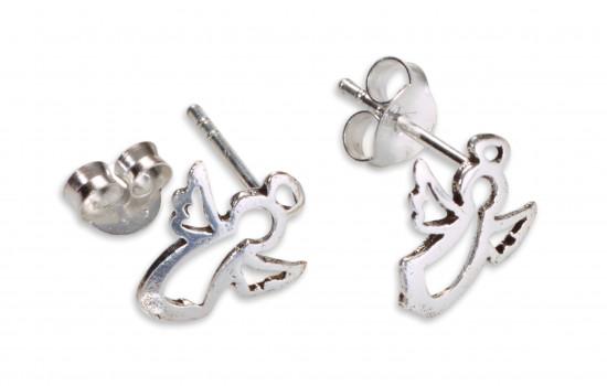 Boucles d'oreilles :  anges argent.