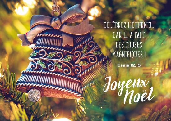 Carte Fin D'année avec Décoration de sapin en forme de cloches (JN)