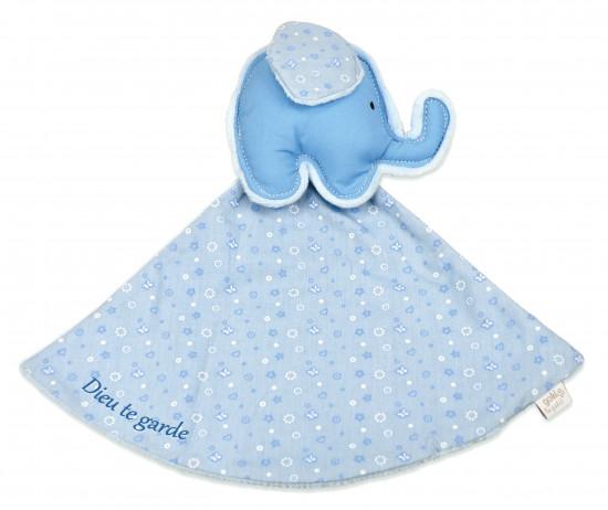 Doudou éléphant bleu «Dieu te garde»