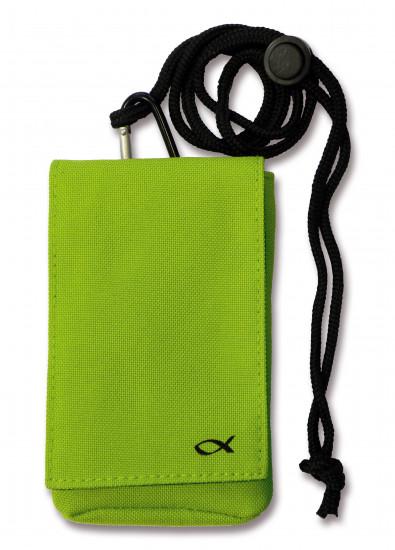 Housse téléphone portable ou MP3 ichtus verte avec lanière