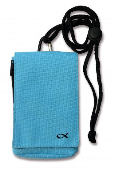 Housse téléphone portable ou MP3 ichtus bleue avec lanière