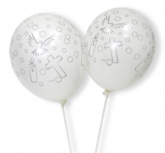 Sachet de 8 ballons blancs avec croix, bougie et colombe