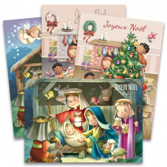 Lot de 8 cartes de Noël + enveloppes(4x2)