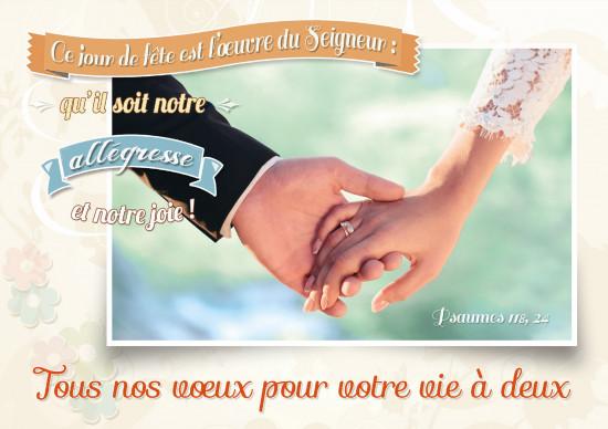 Carte double Mariage Mariés qui se tiennent la main