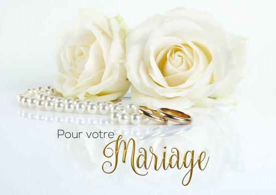Carte double Mariage Roses blanches et collier de perles