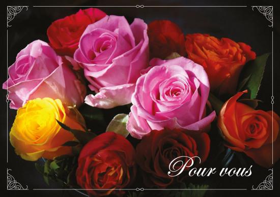 Carte double Bouquet de roses de couleurs variées.