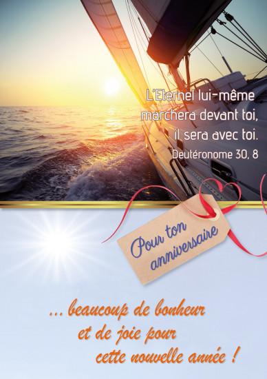 Carte double Anniversaire Voilier navigant sur la mer