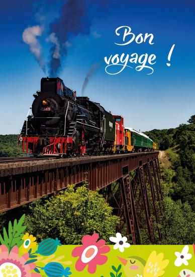 Carte double Train à vapeur sur un pont.