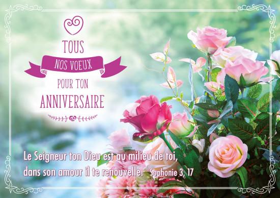 Carte double Anniversaire Bouquet de roses sur fond flou